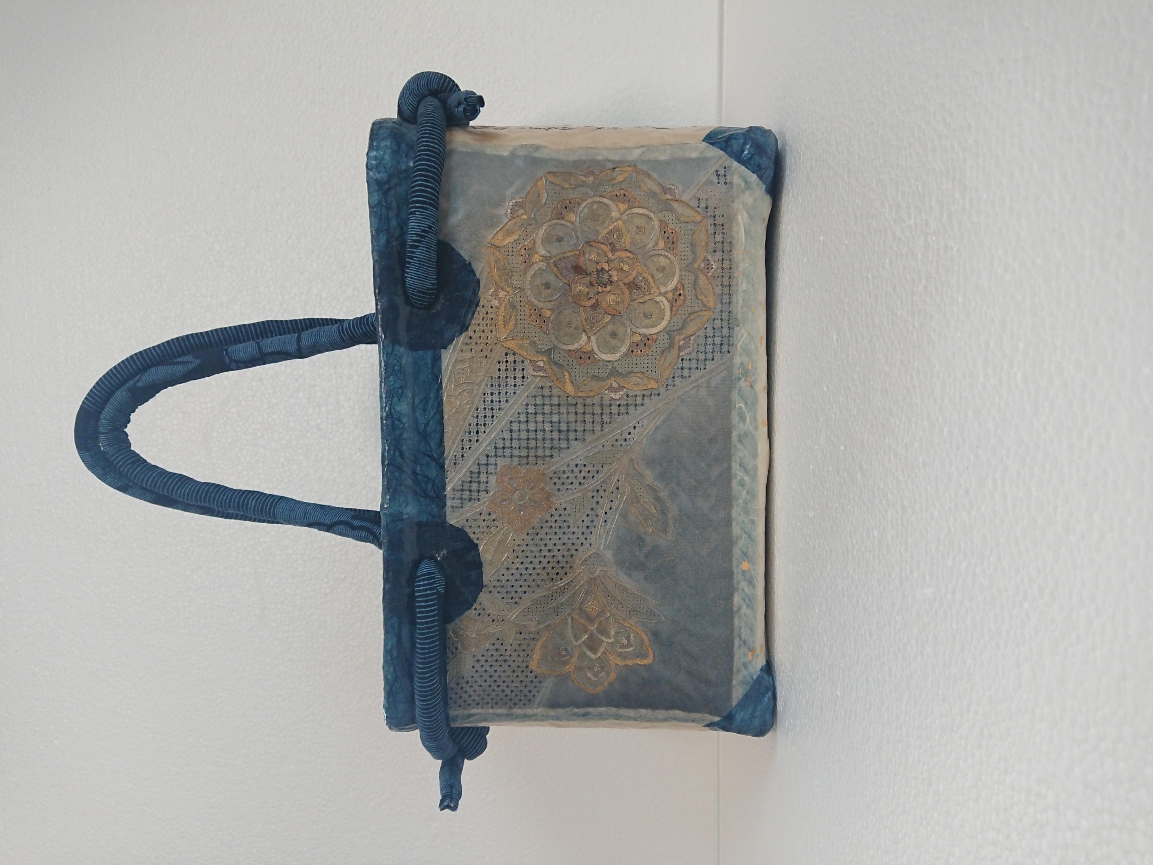 No.27一閑張り かごバッグ 相良刺繍帯 幾何学花模様