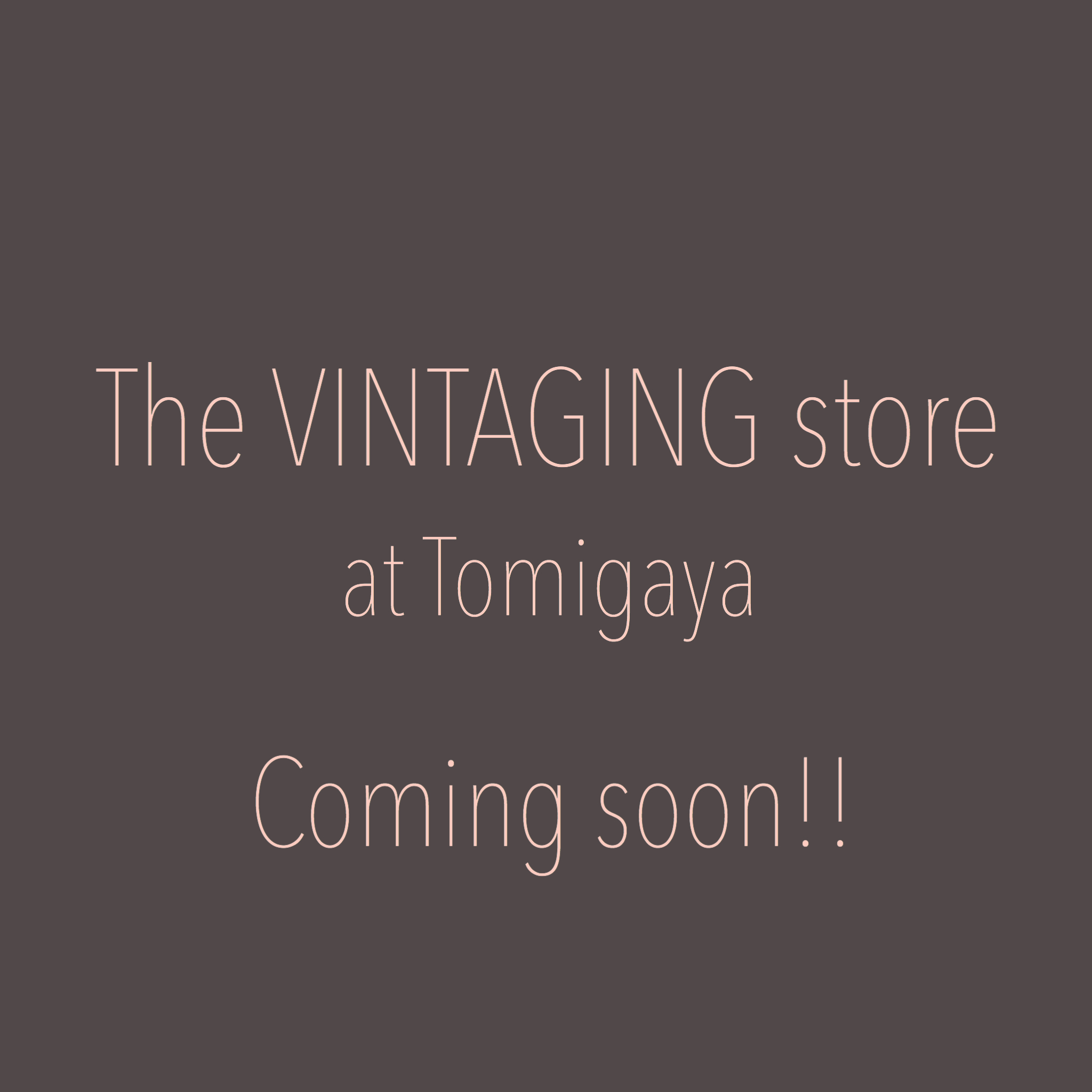 The VINTAGING store Coming soon!!