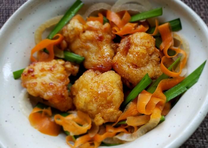 認知症予防 レシピ◎鶏むね肉の竜田揚げと彩り野菜のゆずぽん酢和え