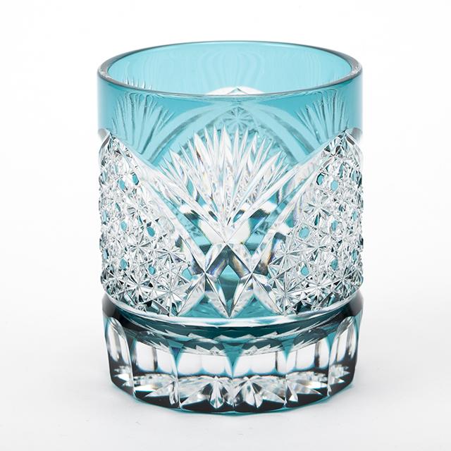 江戸切子 エメラルドグリーンのクリスタルガラス