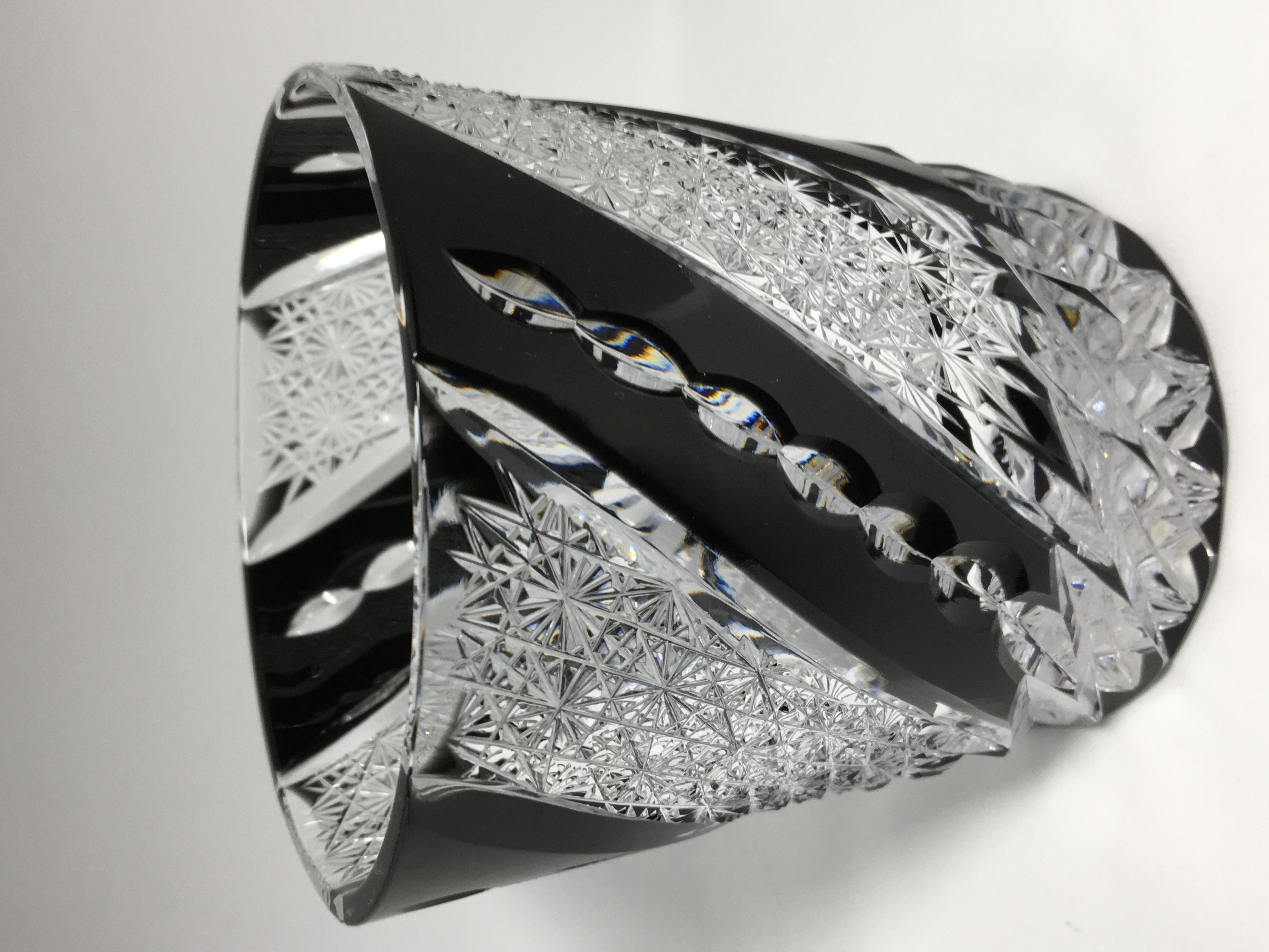 江戸切子の店 黒のクリスタルガラス ロックグラス