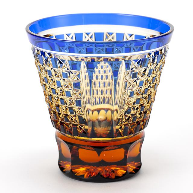 江戸切子 クリスタルガラスのロックグラス(市松模様)の在庫補充しました