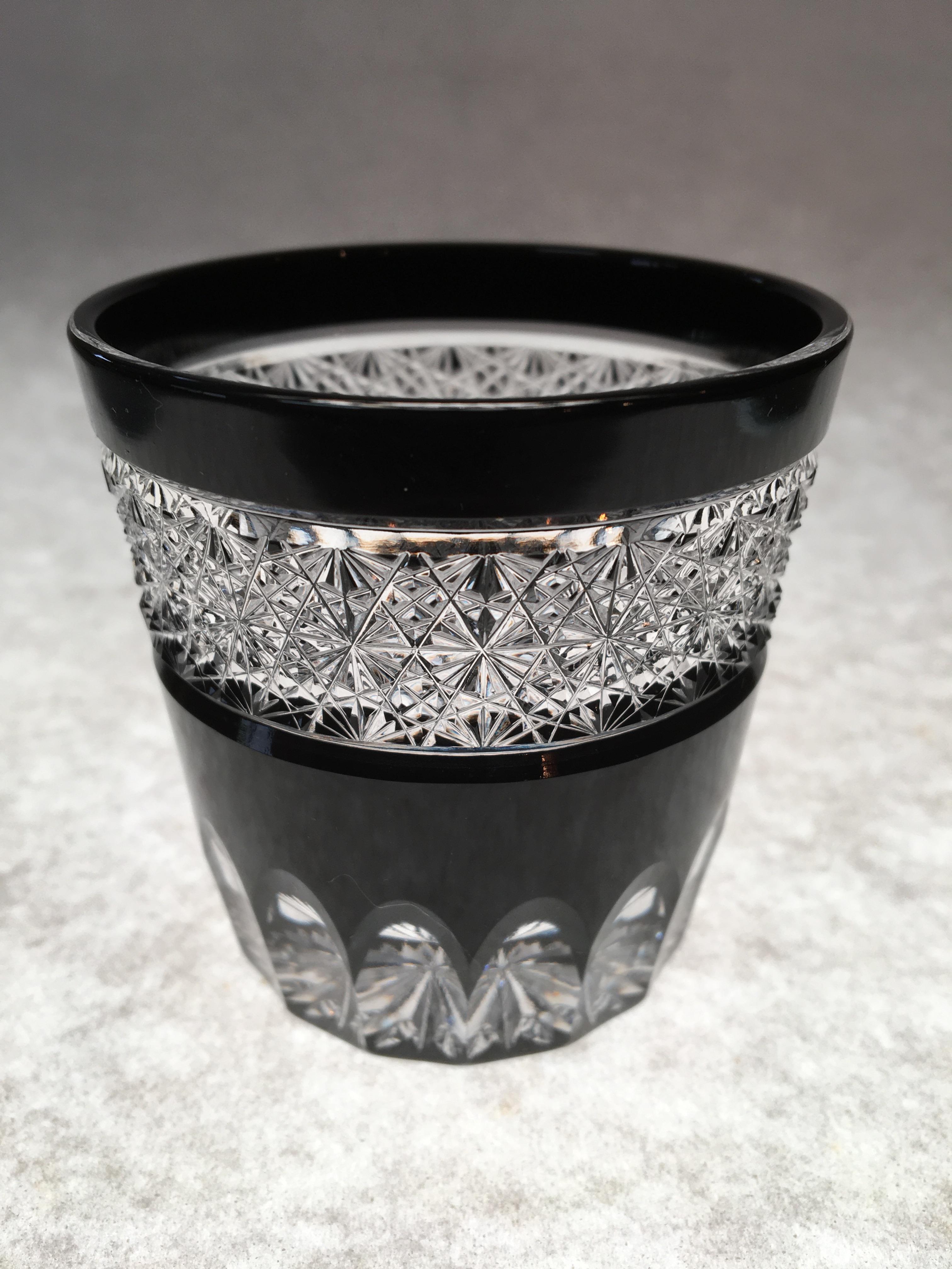 江戸切子 黒の酒グラスの在庫補充しました