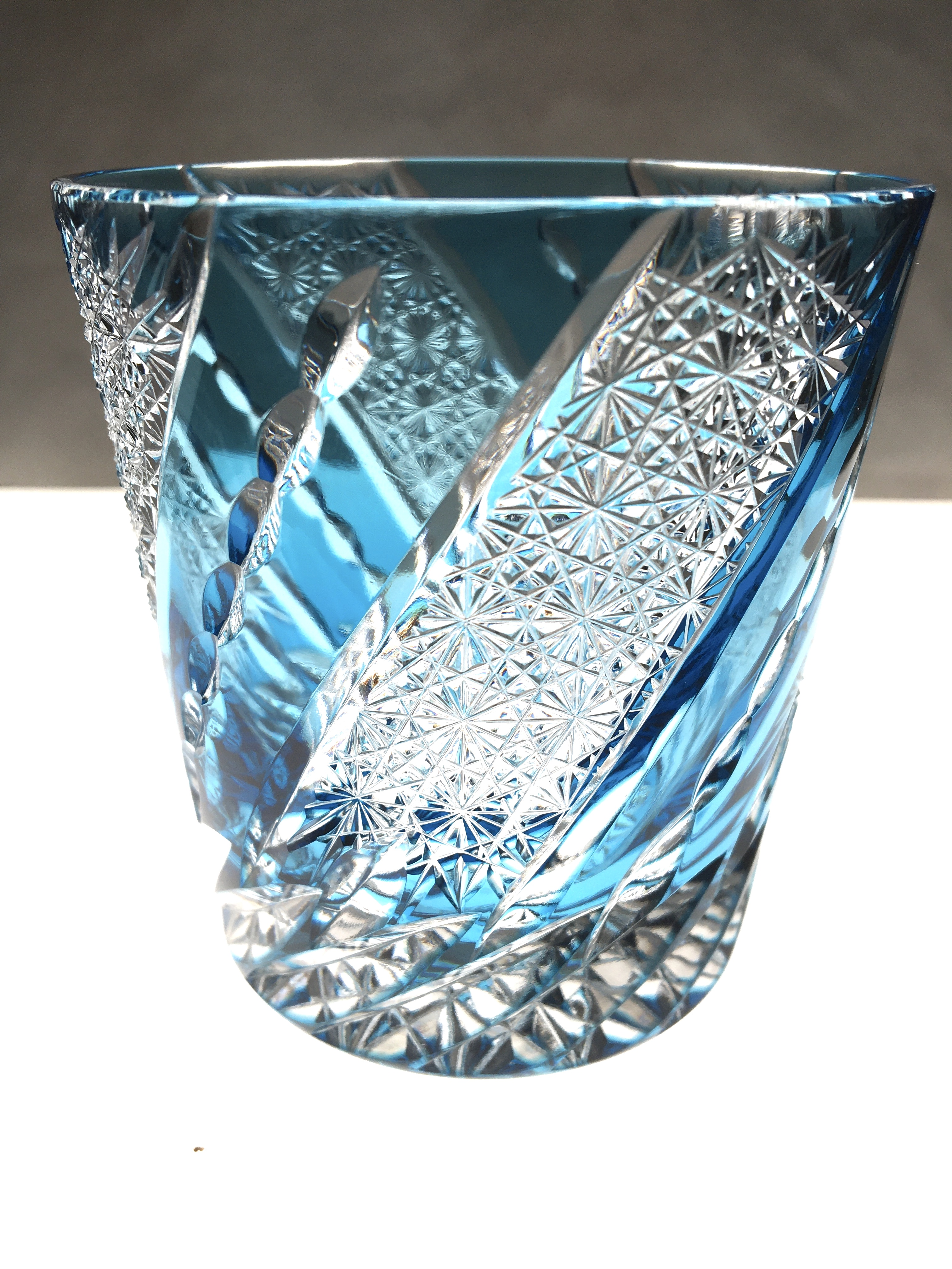 江戸切子 クリスタルガラスのロックグラス(風車)