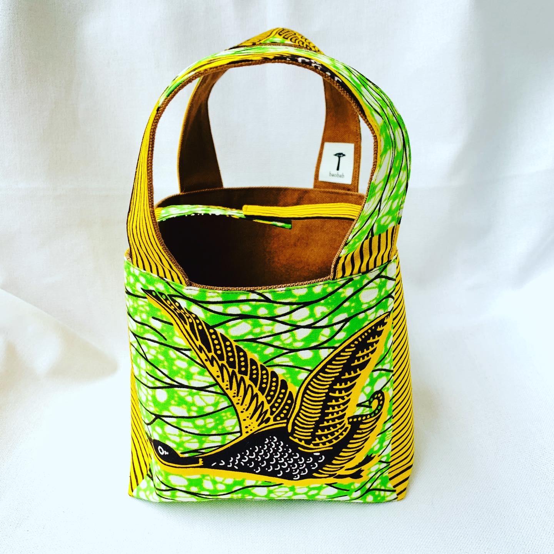 アフリカ布と帆布のリバーシブルトートバッグ イエロー