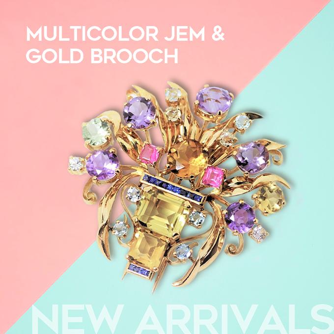【新着ジュエリー】Multicolor Jem & Gold Brooch