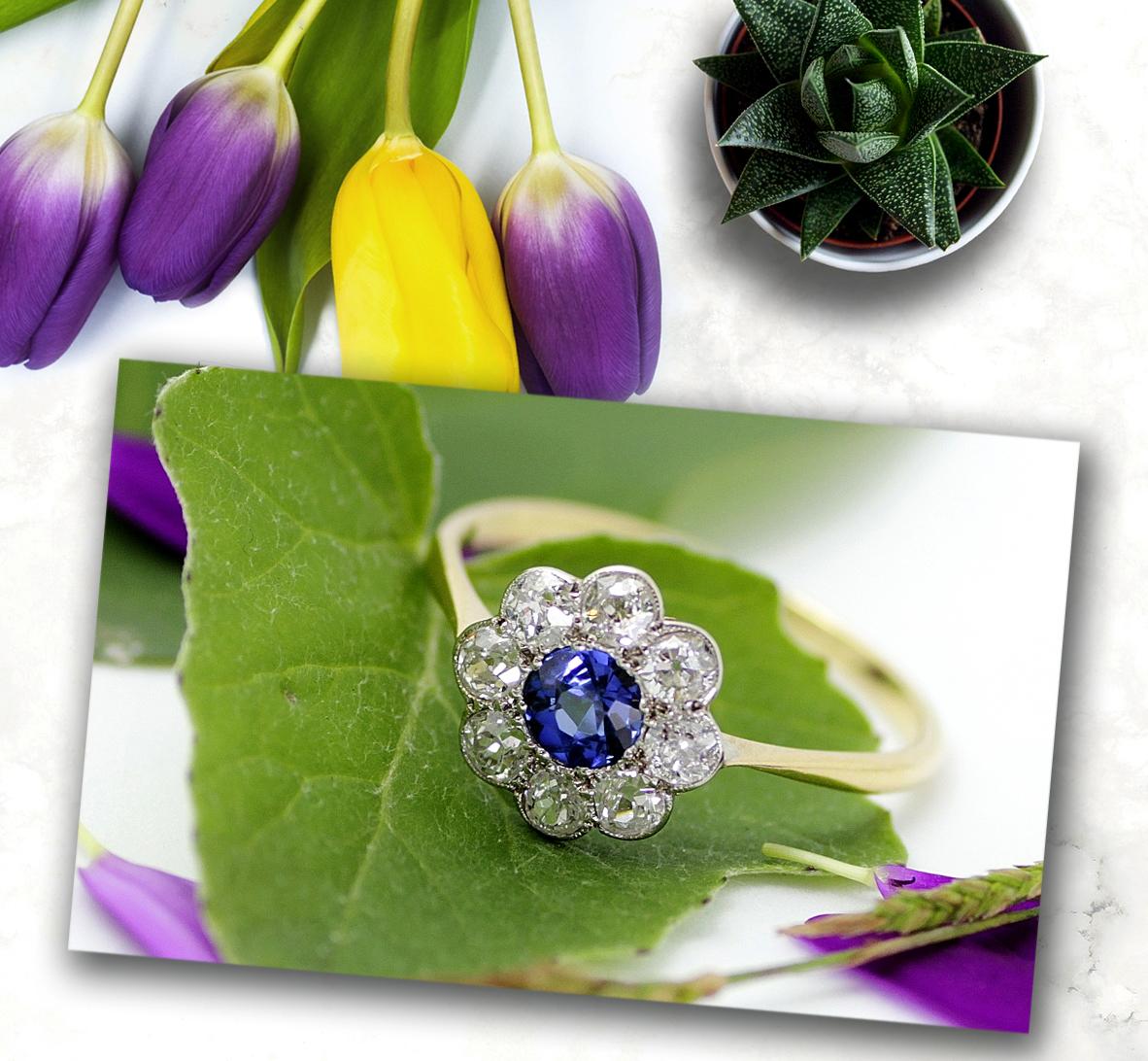 【新着ジュエリー】サファイヤ&ダイヤモンド クラスターリング