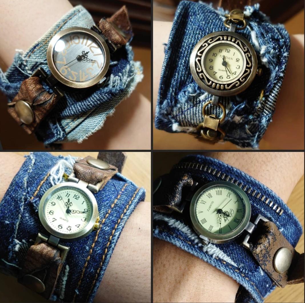 デニムパッチワークベルトの時計