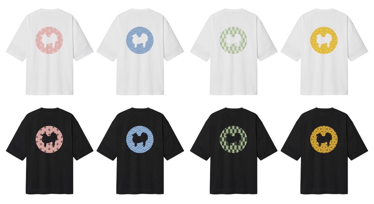 和柄と日本スピッツのコラボがおしゃれ!日本伝統文様のデザインTシャツ販売開始です。