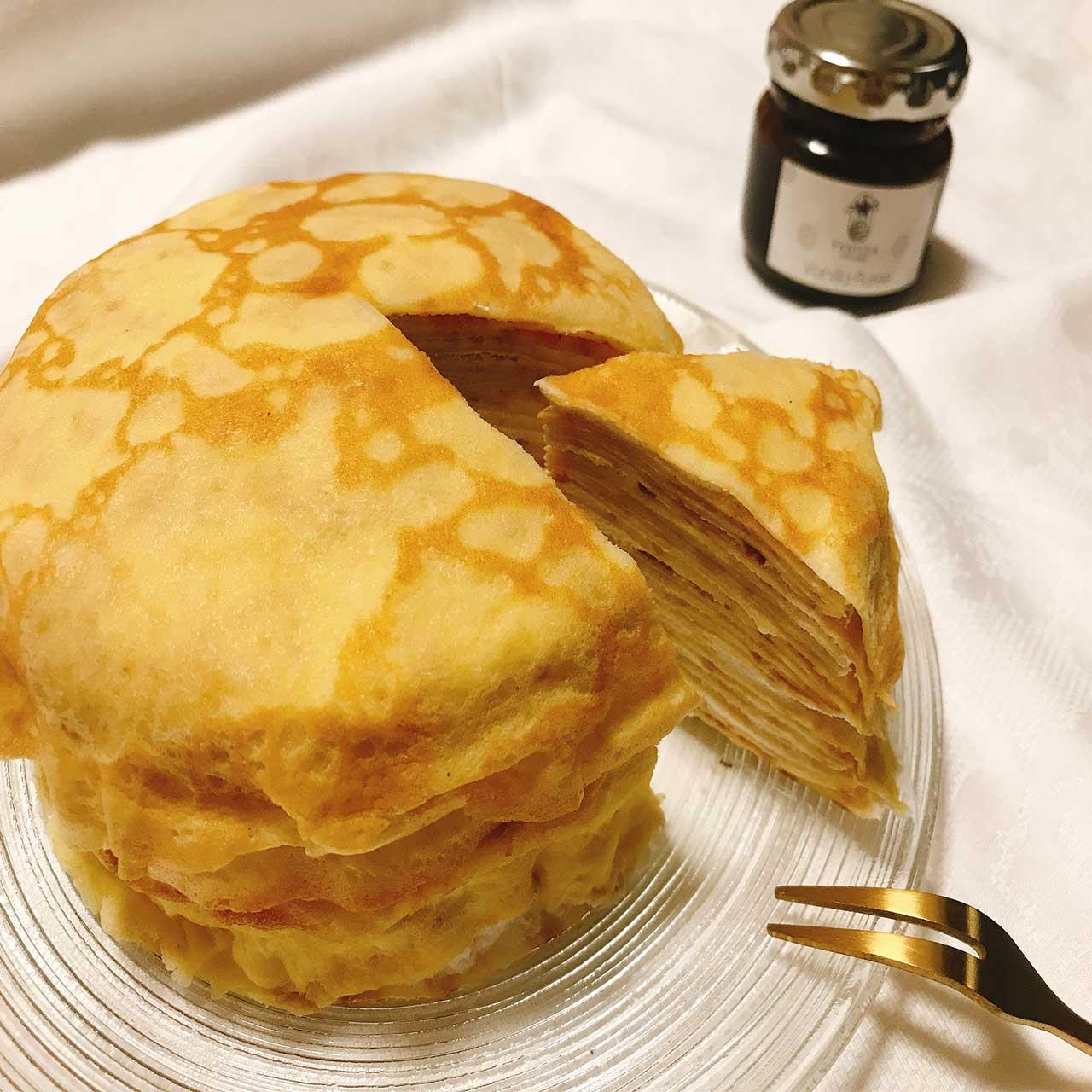 【バニラのミルクレープ✨:オーブンなくても作れちゃう👍天然バニラピューレで生地までリッチに😊】