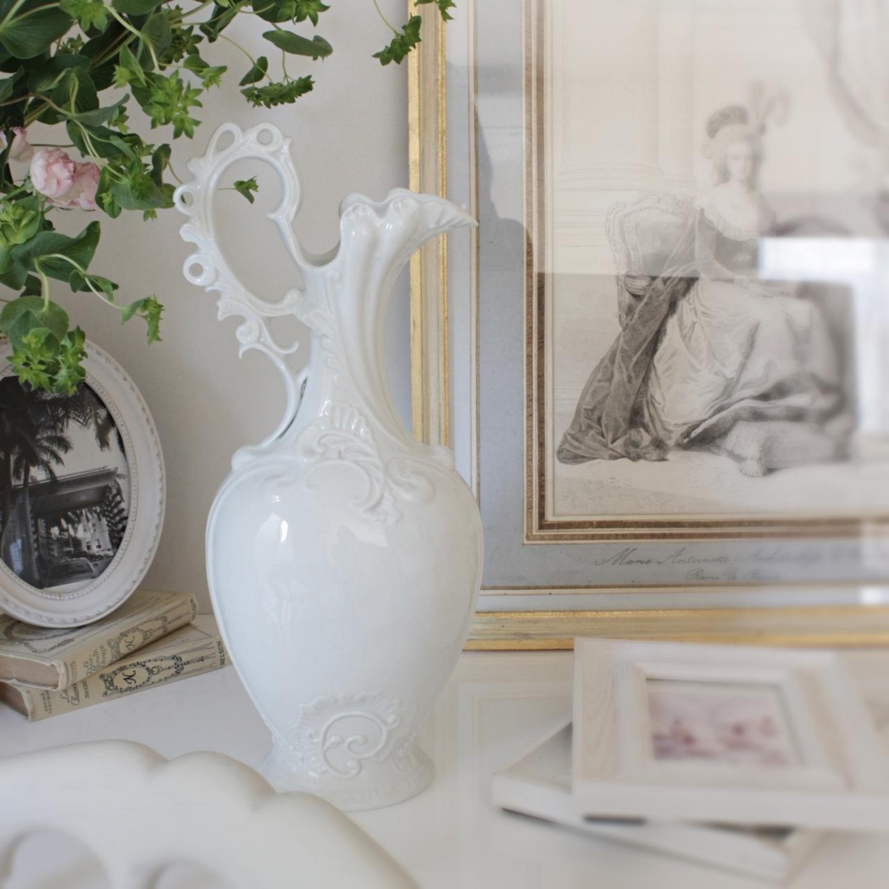 フランスアンティーク 華やかな白い陶器のフラワーベース エレガント 大きな花瓶 Pauline