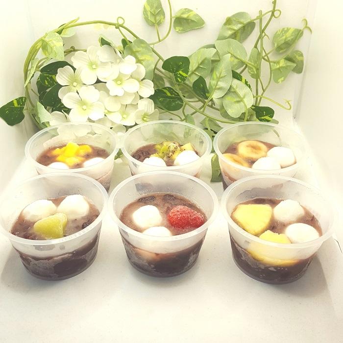 フルーツの酸味と小豆の甘さが相性バツグン!白玉入りフルーツぜんざい6個入り