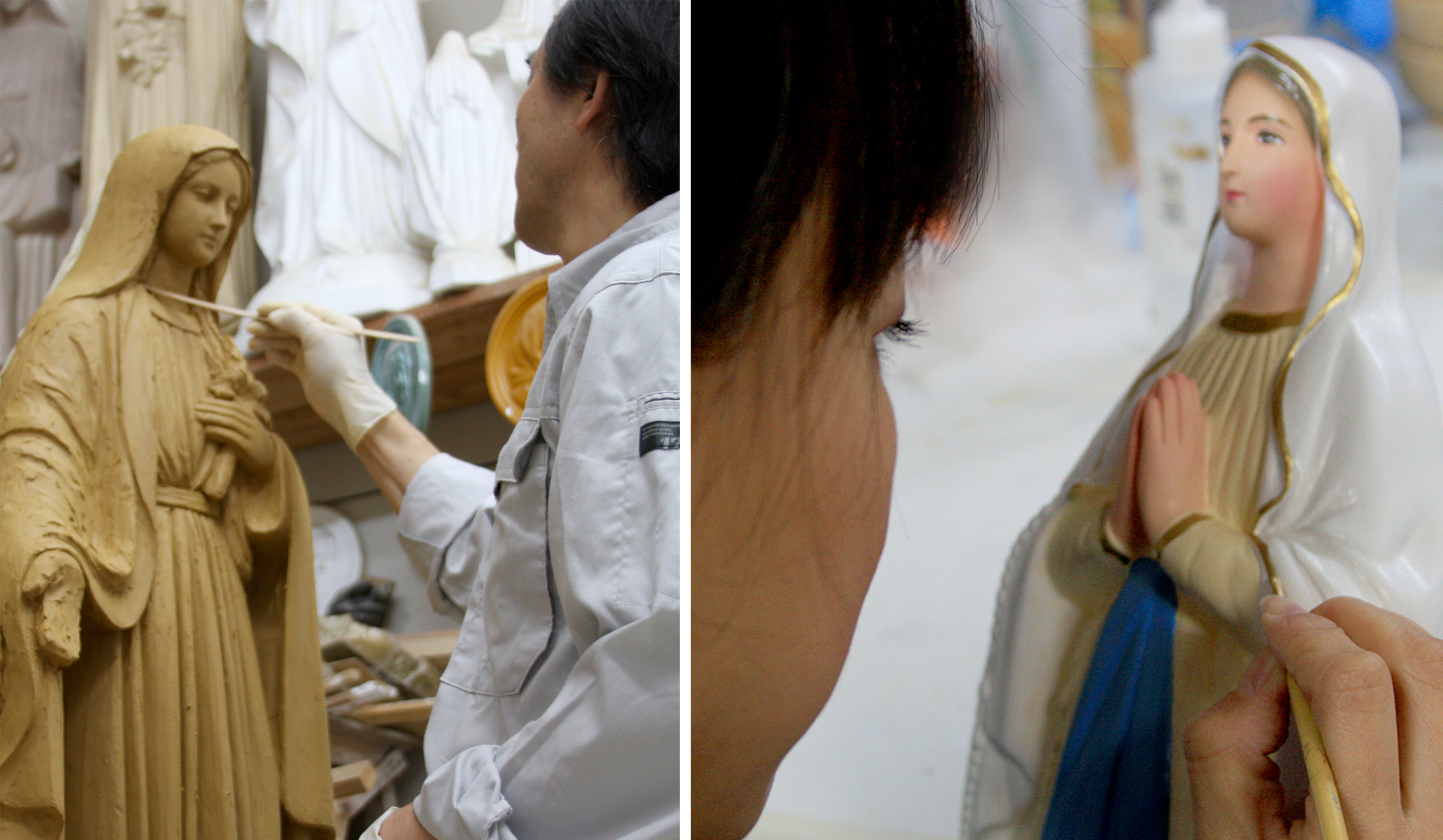 およそ55年に亘り、キリスト教の聖像を中心に<br>手作業にて制作をしております