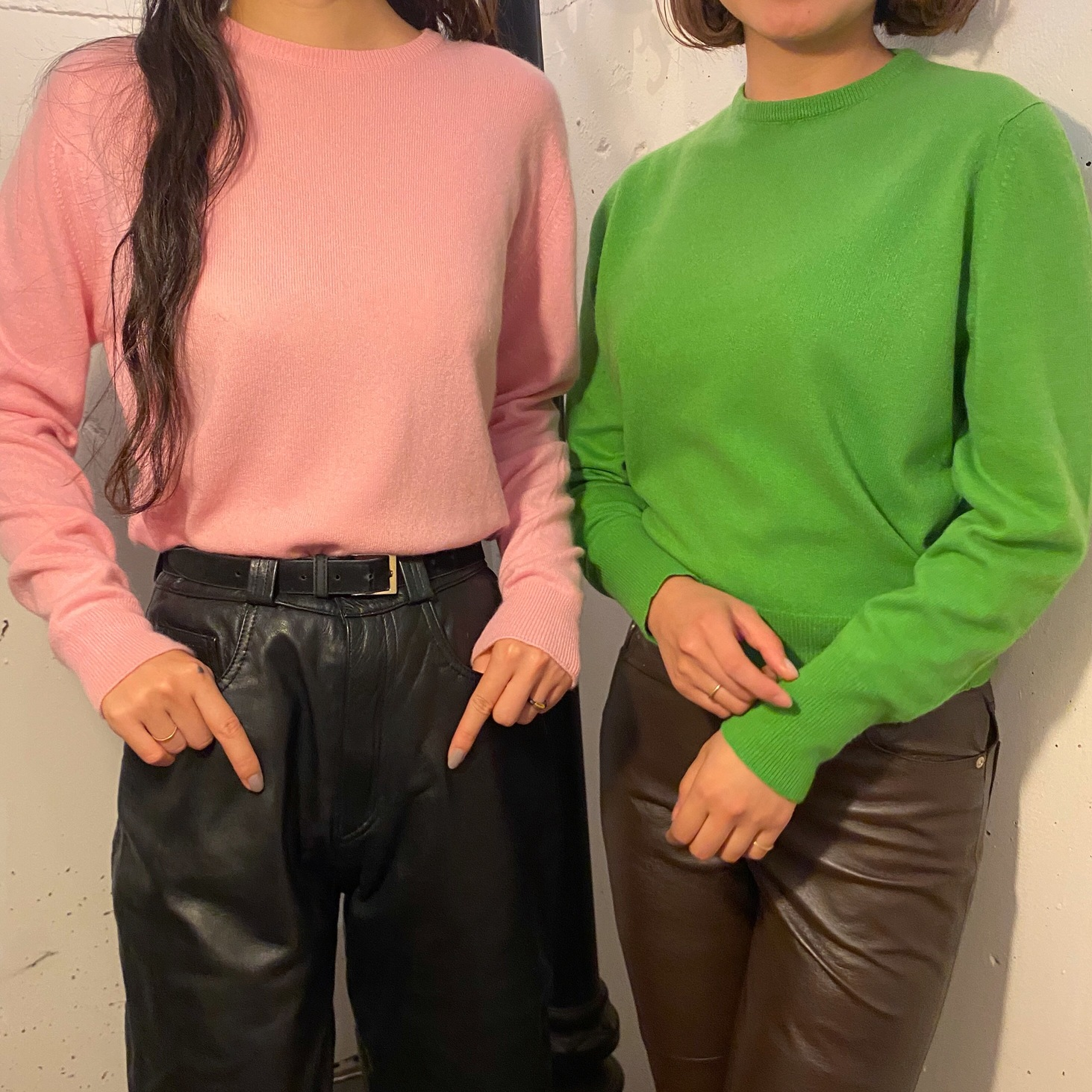 VINTAGE color cashmere knit sweater(green)